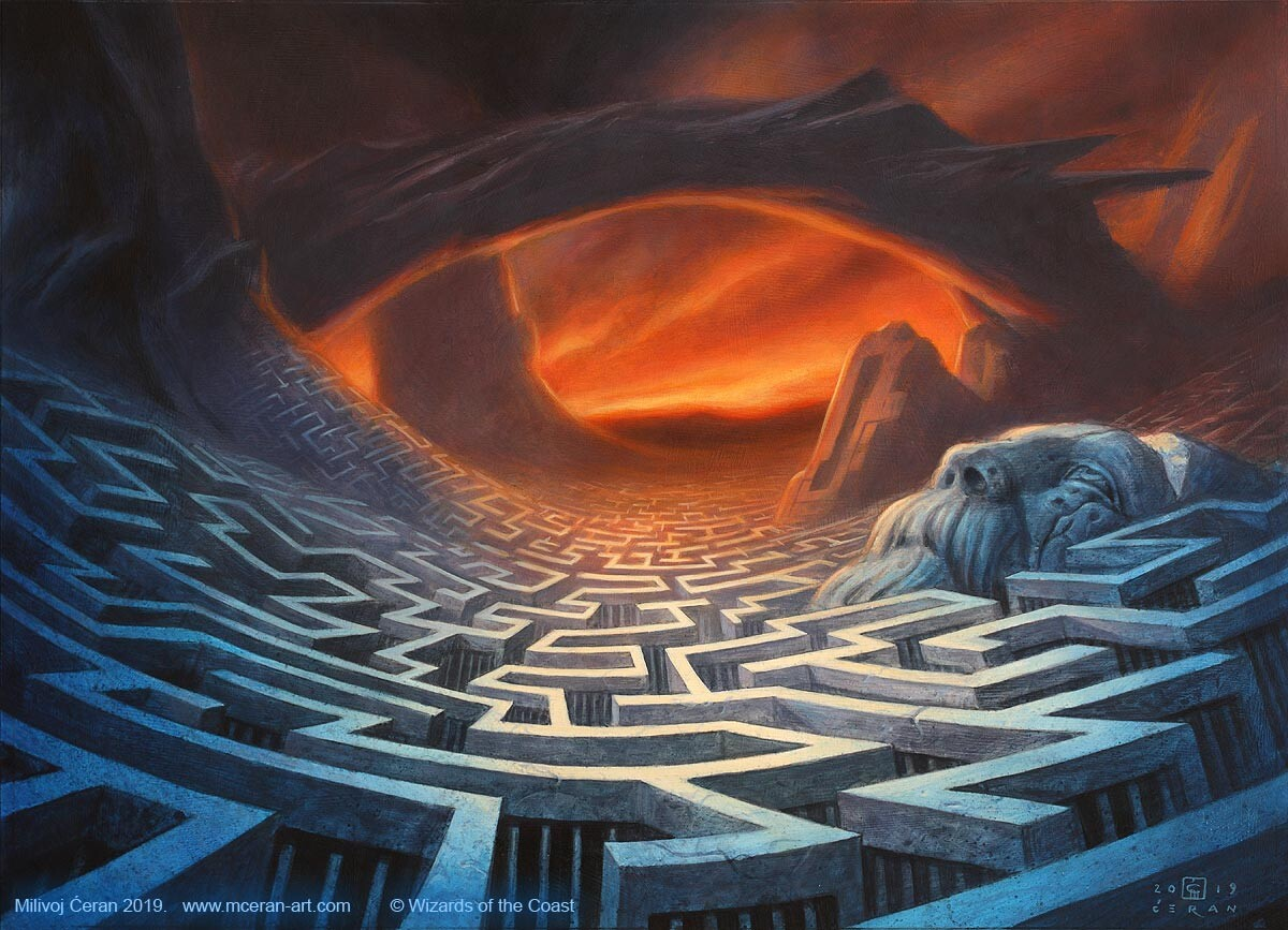 "- ""Maze of Ith"", Milivoj Ćeran 2019. - 13x18 inches - acrylic and airbrush on paper mounted on mdf board - AD: Dawn Murin  - © Wizards of the Coast"