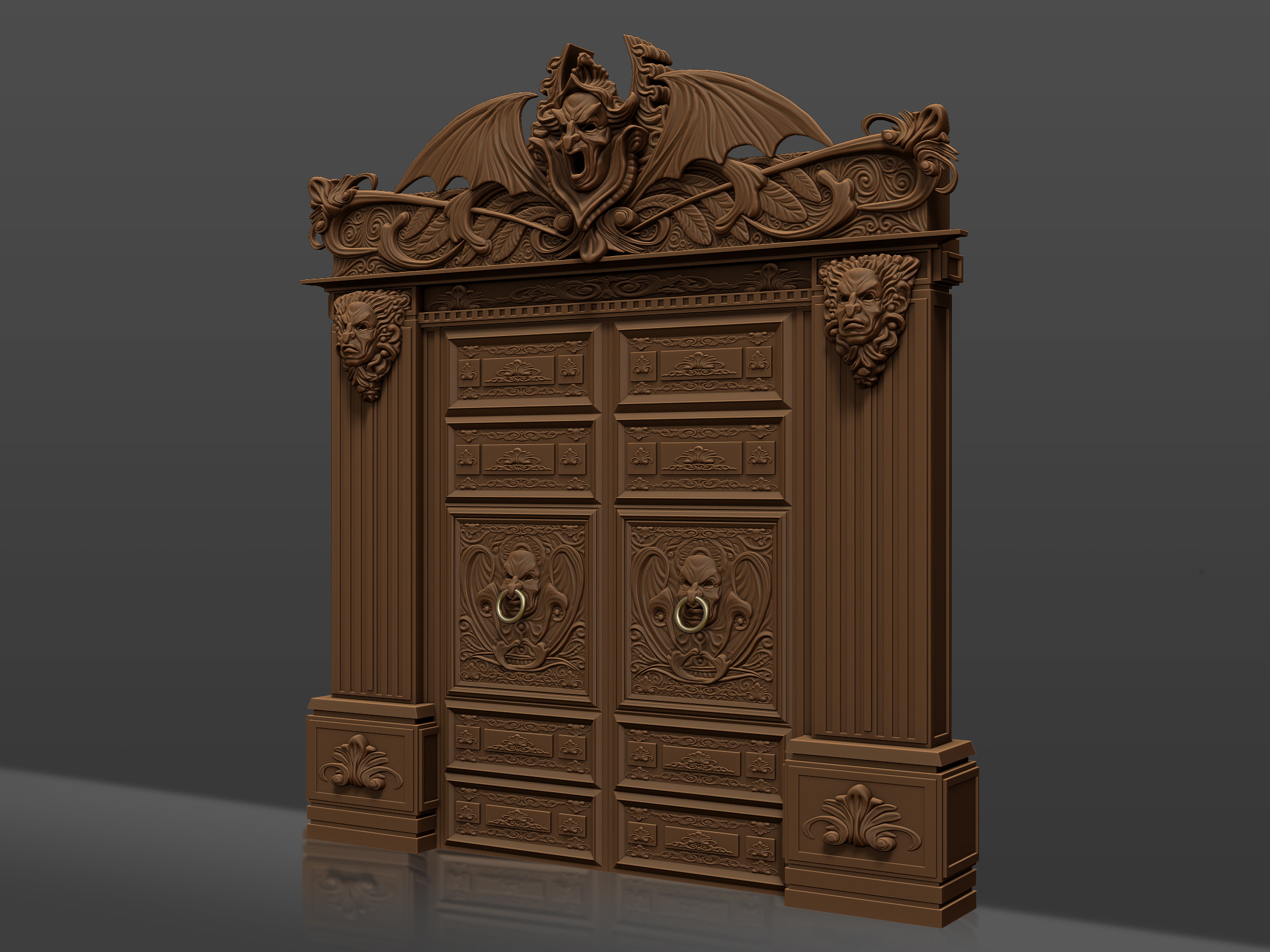 detail of the doorway I sculpted for the scene.