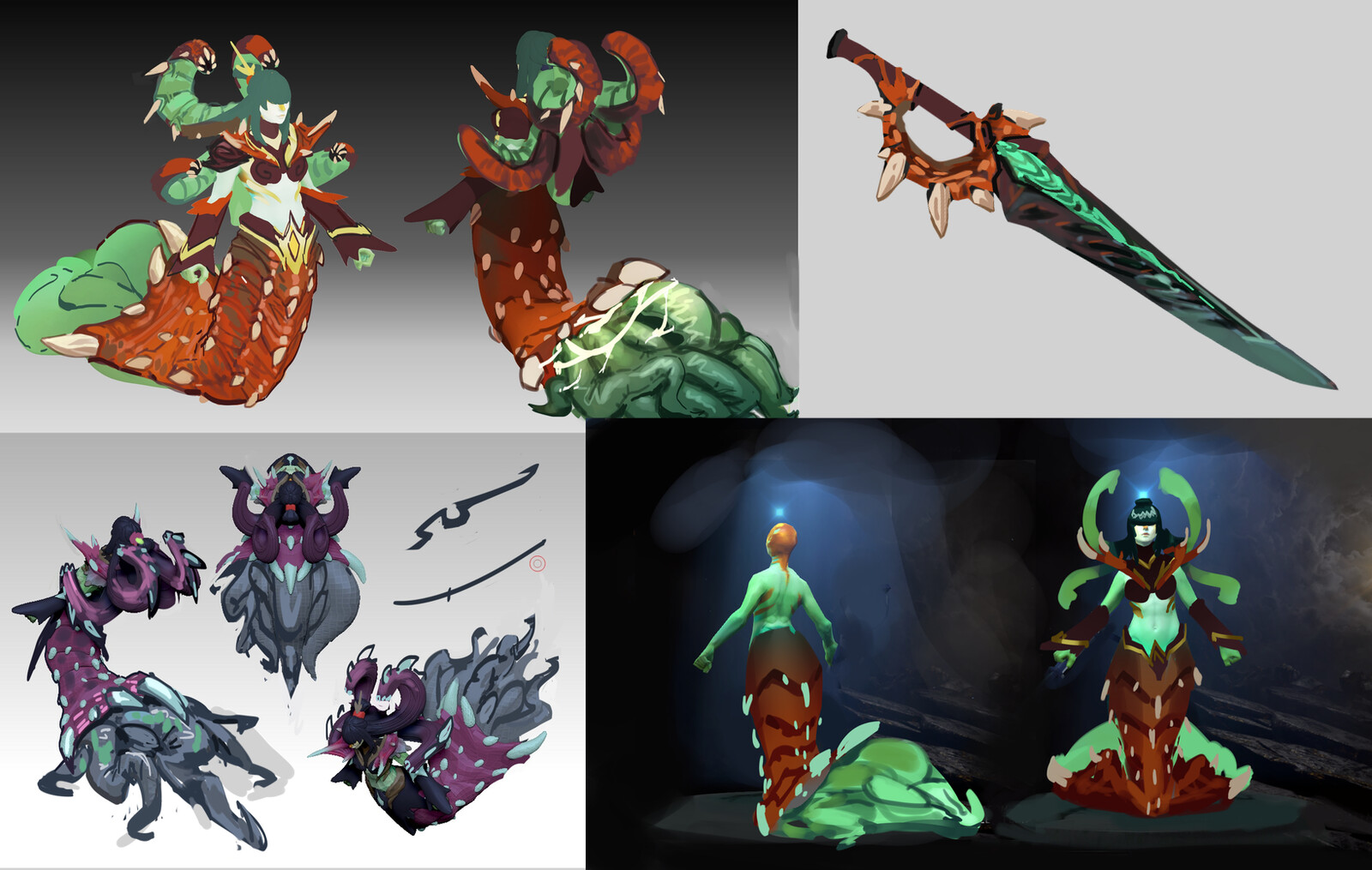 This set started from a blockout in Zbrush, so there wasn't one artwork the set is based on, but rather a lot of iterations of overpainted sculpt. Here are some of them.