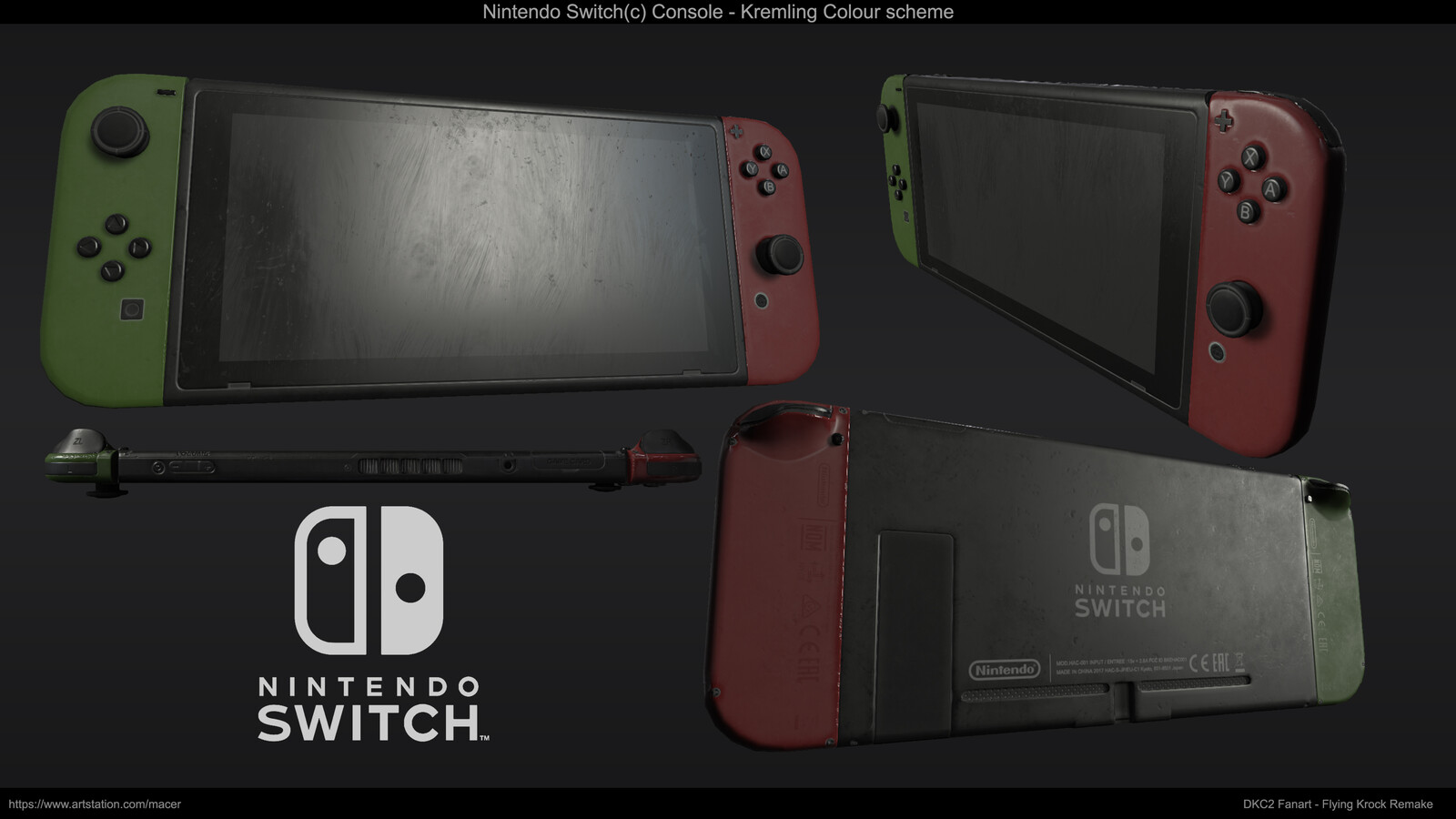 A couple Painter shots of the Switch console, cheekily replacing the SNES controller in the back of the scene. This is the Kremling Special Edition.