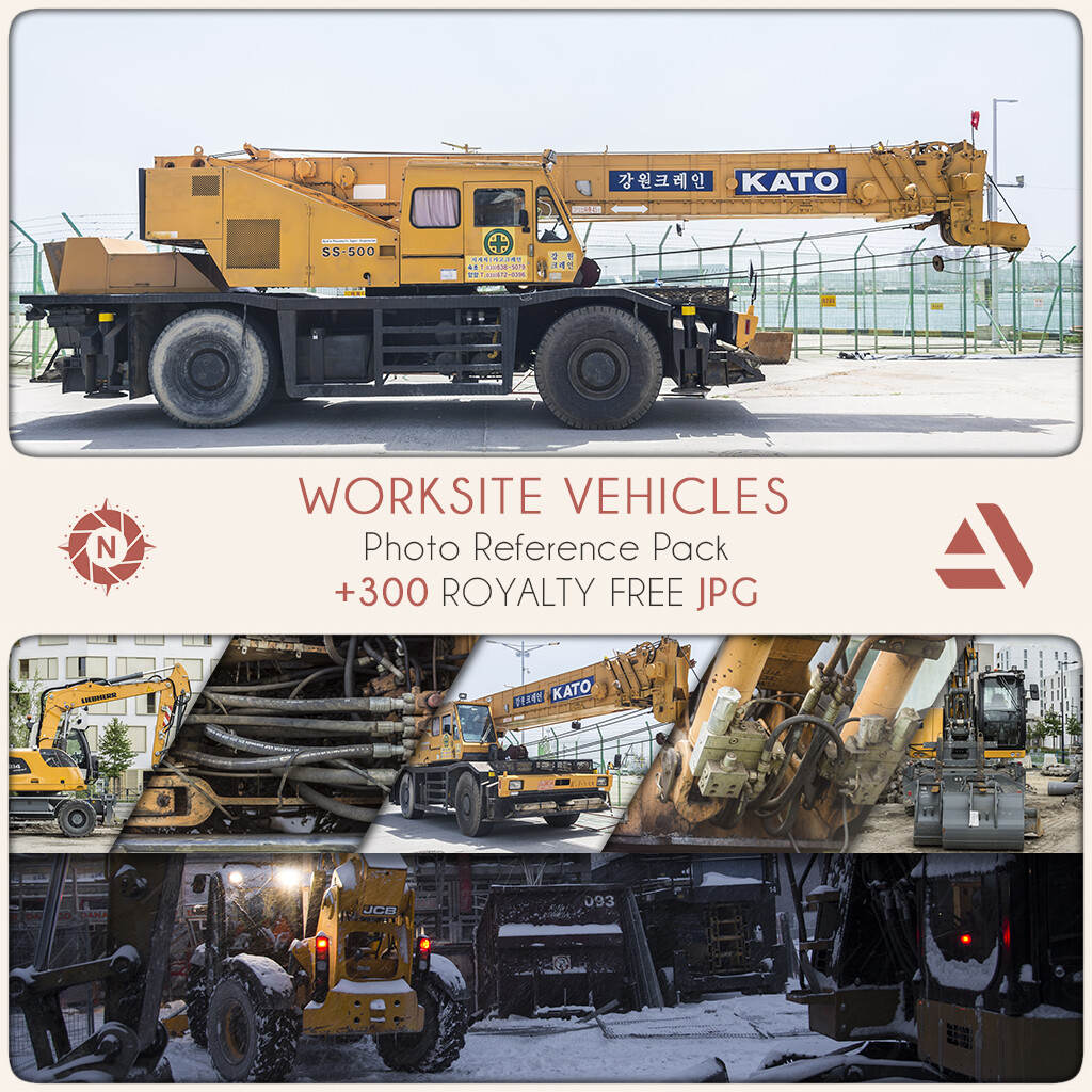 Photo Reference Pack: Worksite Vehicles  https://www.artstation.com/a/165927