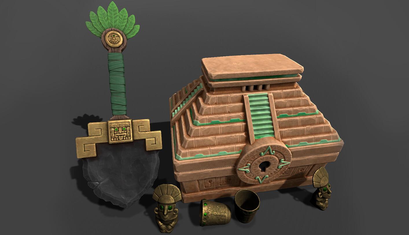 Treasure Hunt Props - Aztec Theme Shovel Artifacts  Treasure Chest