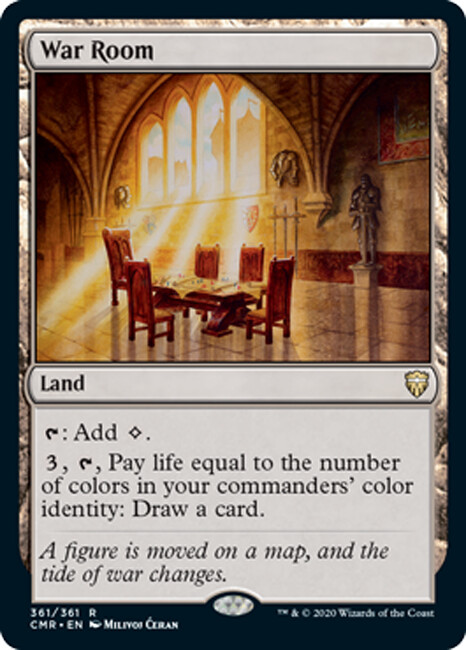 """War Room"", released land card with regular frame - © Wizards of the Coast - AD Andrew Vallas/ Sandra Everingham - Magic the Gathering, ""Commander Legends"", Oct 2020"