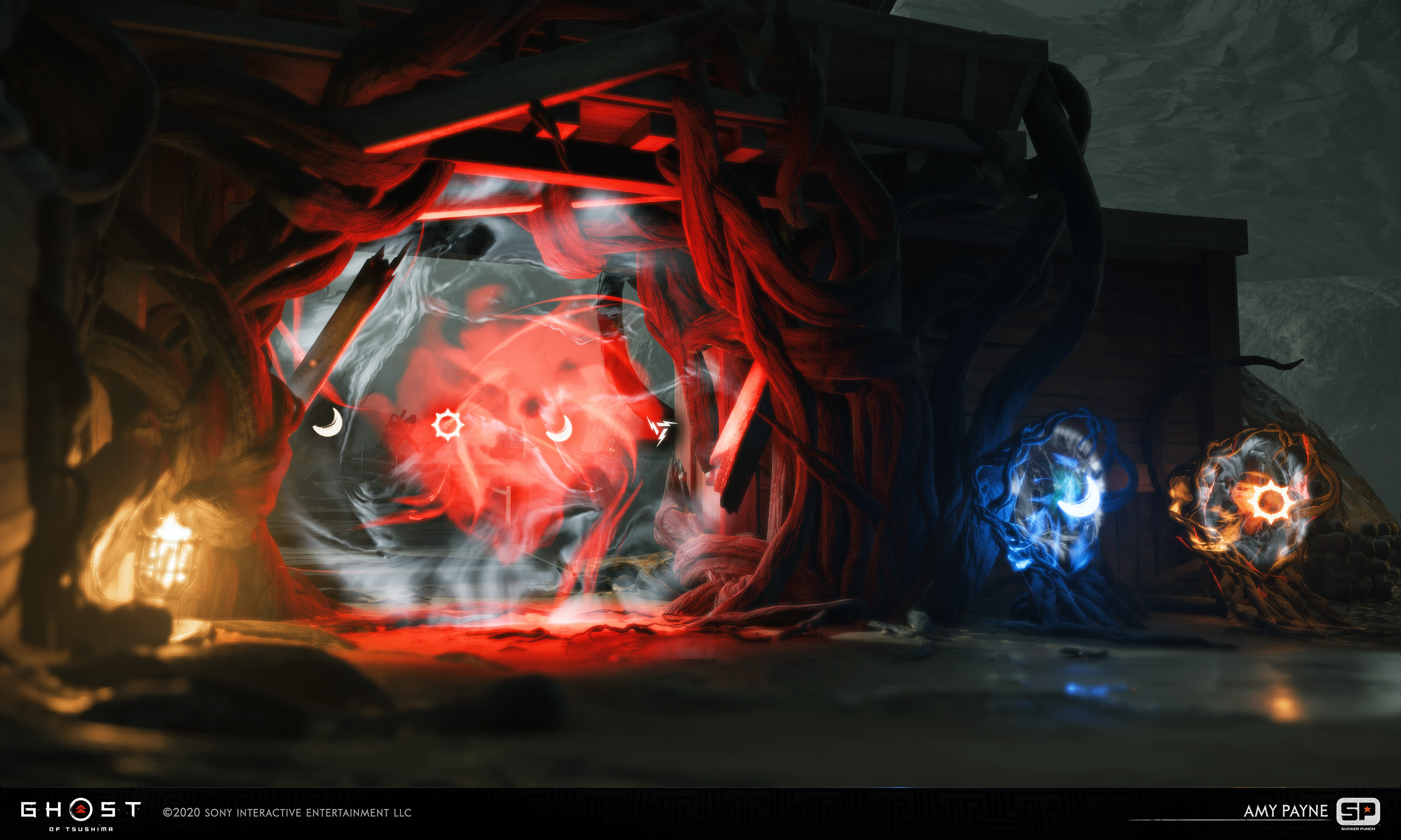 Cursed attunement gate and attunement interacts. Kitbashed together from vine pieces made by Douglas Davis. Matt Vainio made the FX, and Dongjoon Lee was the location artist who got this area put together.