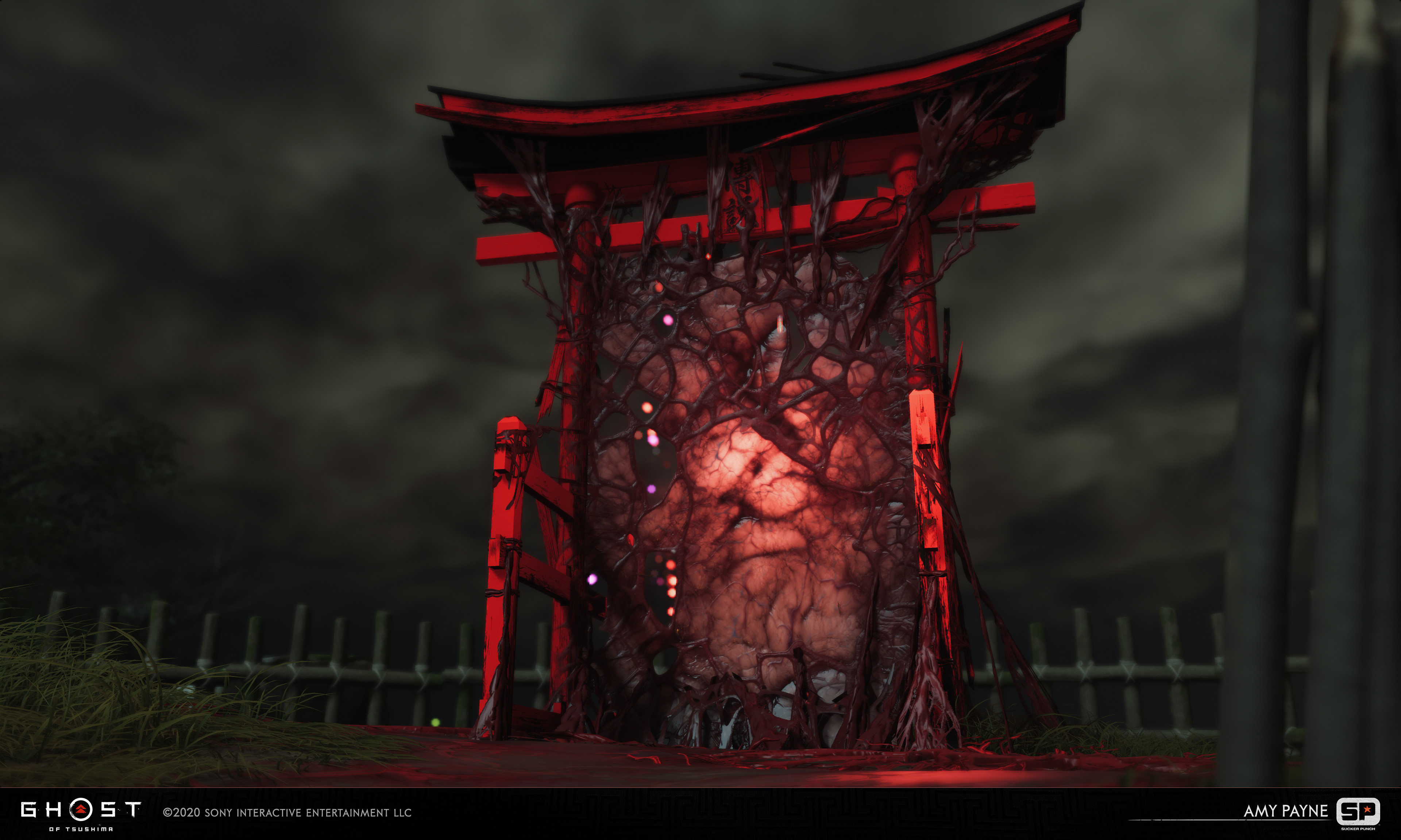 Large cursed Torii gate. Responsible for the sinew membrane material and pulsing animations.