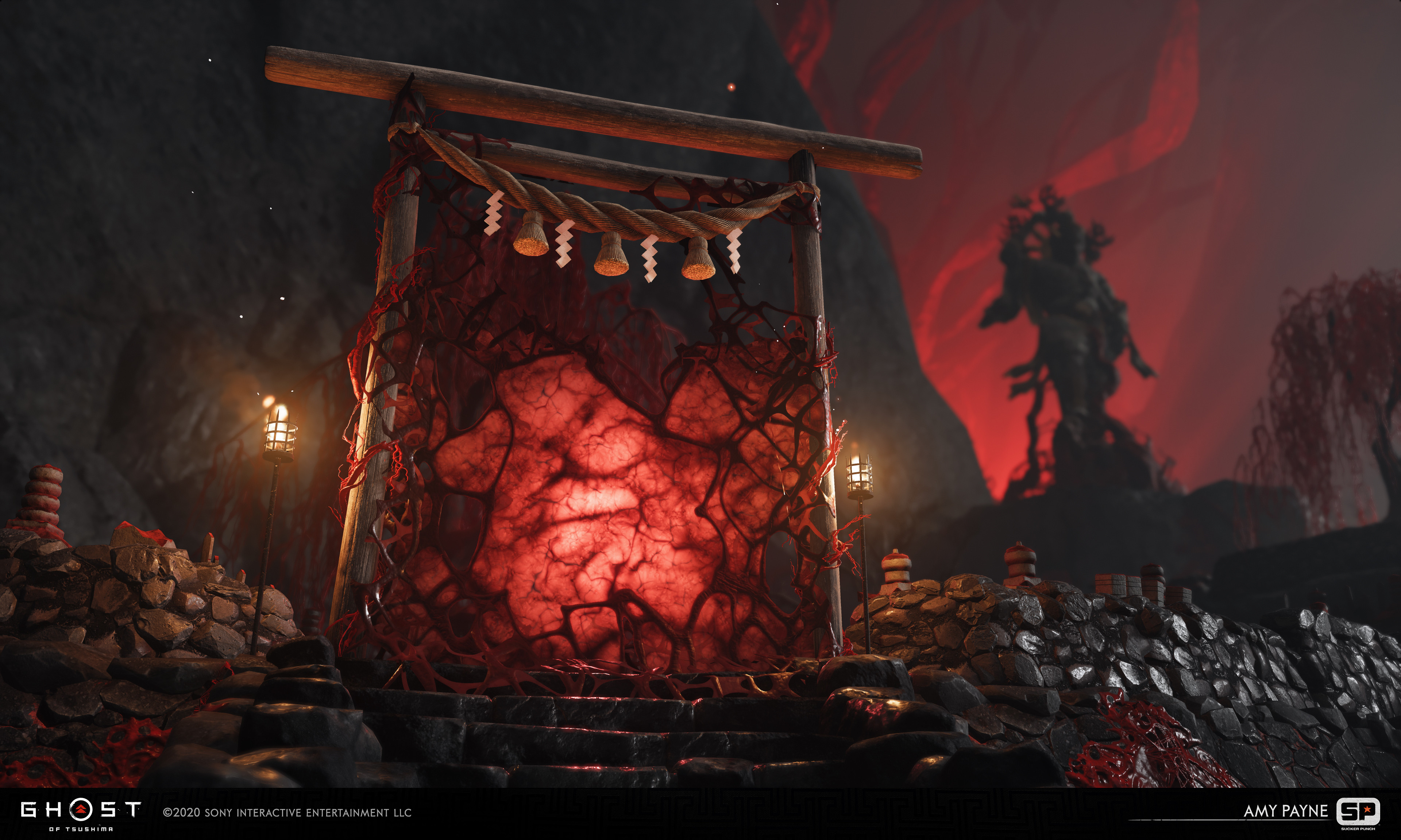 Responsible for the cursed gate sinew material and pulsing animation. Lighting by Gaby Soto, FX by Matt Vainio.