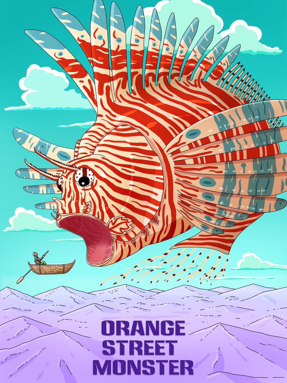 Orange Street Monster bändi plakati illustratsioon