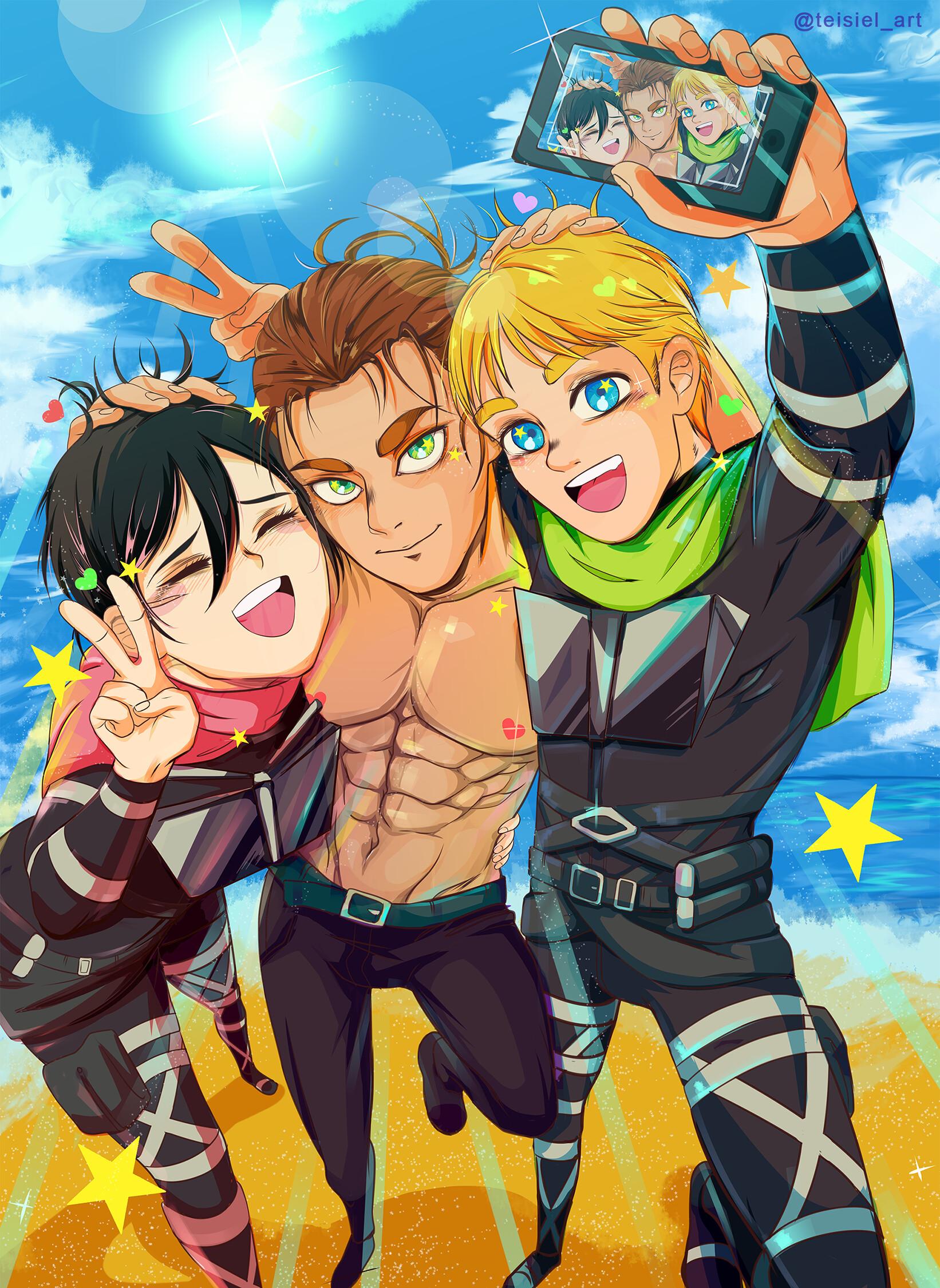 Taisho C Fan Art Armin X Eren X Mikasa Snk Shingeky No Kyoyin Teisiel Art