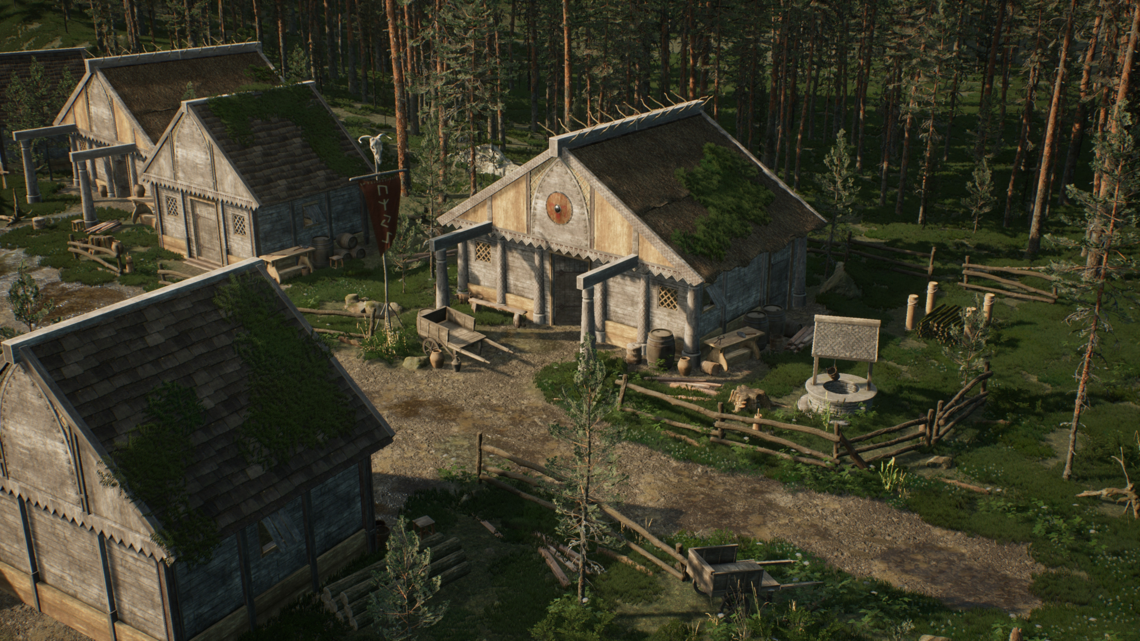 Scandinavian Homesteads: I built all of the architectural assets modularly so that I could build a number of different homes with relative ease, and then setdress them uniquely with props and painted grass/foliage