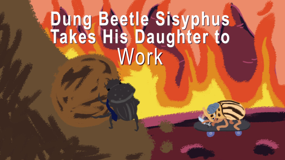 Sisyphus Beetle Takes His Daughter to Work