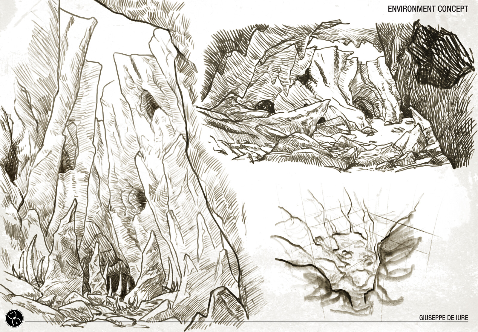 The environment is a natural cave where the creature makes different tunnels to be able to move hidden, climb onto the cave walls and jump on the poor prey fallen and injured.