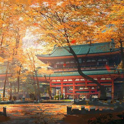 Josh durham japanese temple sketch