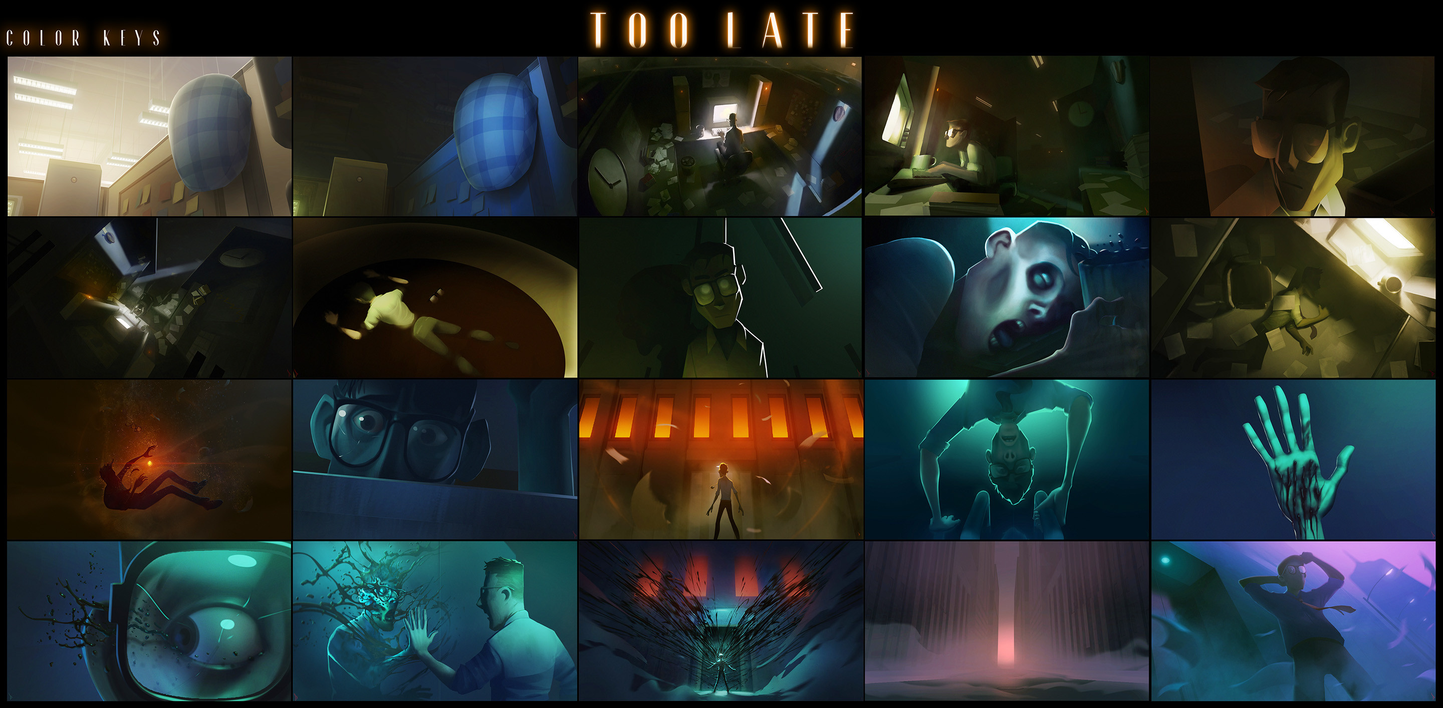 Original color keys for the film. Some were created before any cg work began, and a couple after some greybox or block-in art was made.