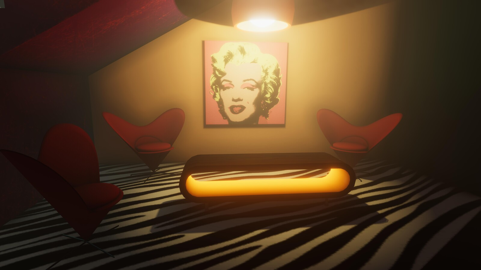 The lobby seating area all comes together well with the low hanging light and Marilyn on the wall.