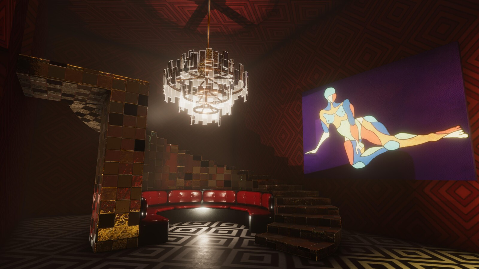 The VIP lounge of the disco server in Masquerade. This room is quite Art Deco yet has glowing yellow platforms on the other side of the room which more resemble the disco era.