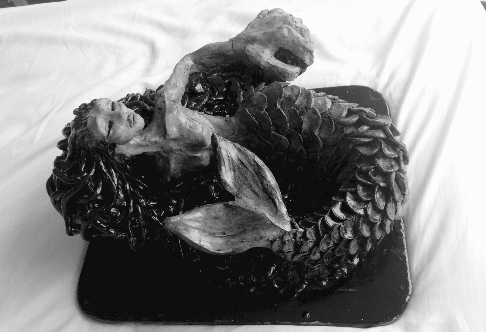 My Final Mermaid. I sculpted her in 5 hours again for my final school assessment. Varnished after.  May 2015