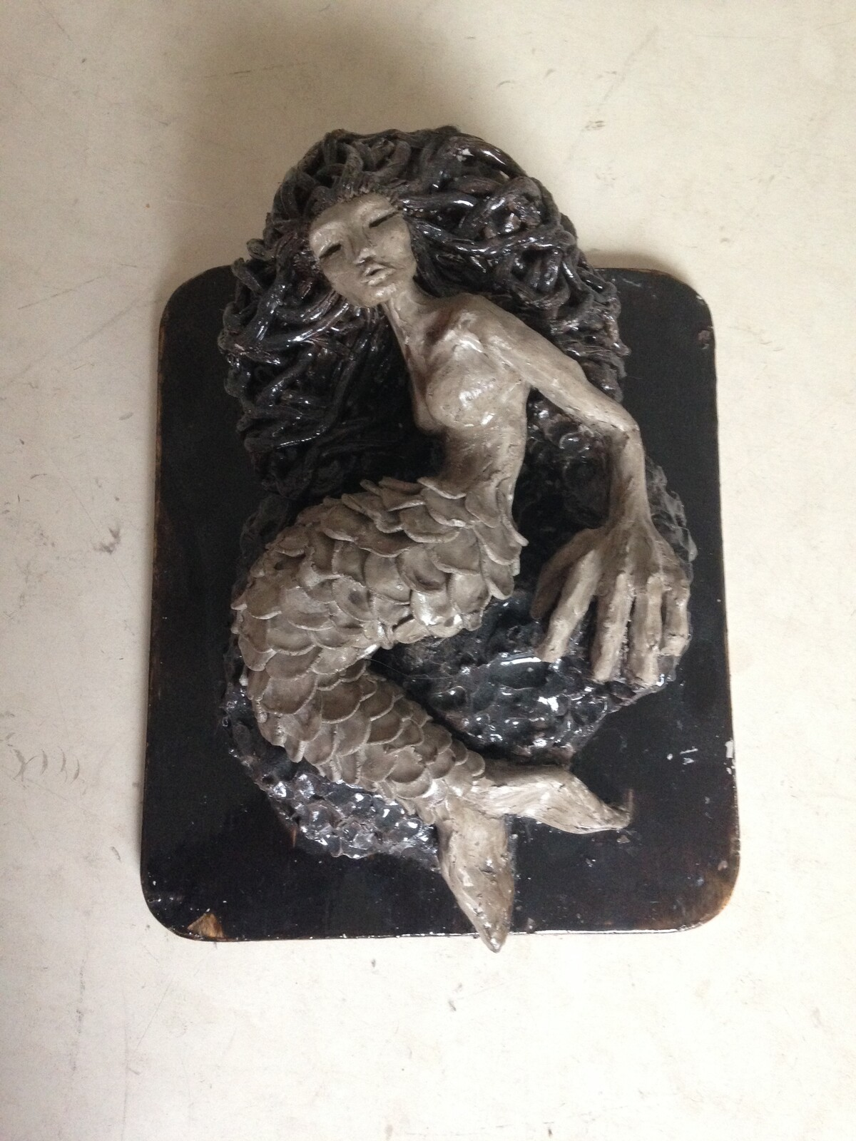 I sculpted my second mermaid in 5 consecutive hours for a school assessment. Varnished afterwards  March 2015