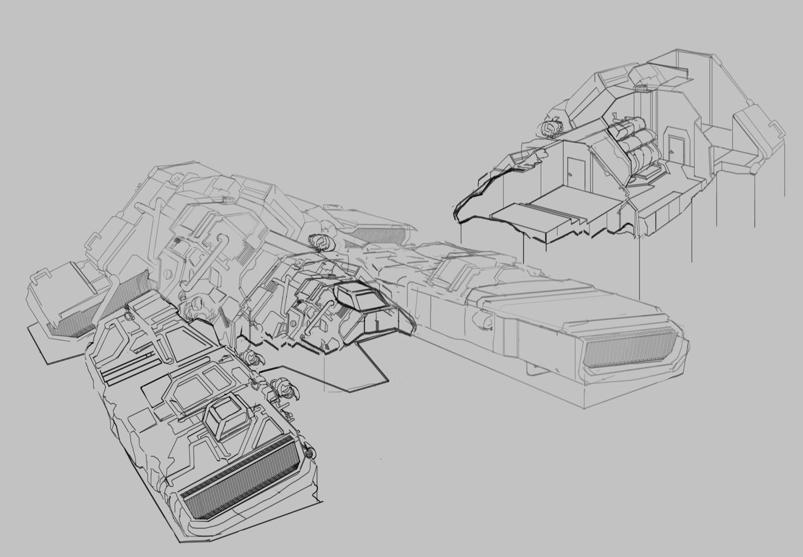 Industrial spaceship sketch