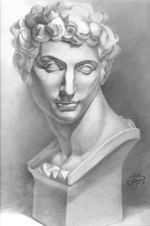 Classical Drawing of David Sculpture