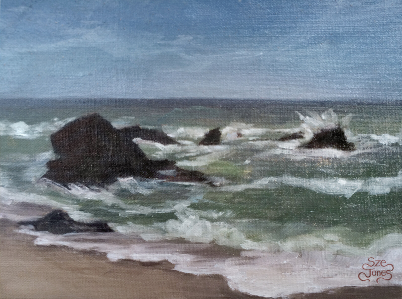 Half Moon Bay Seascape - Oil on Board