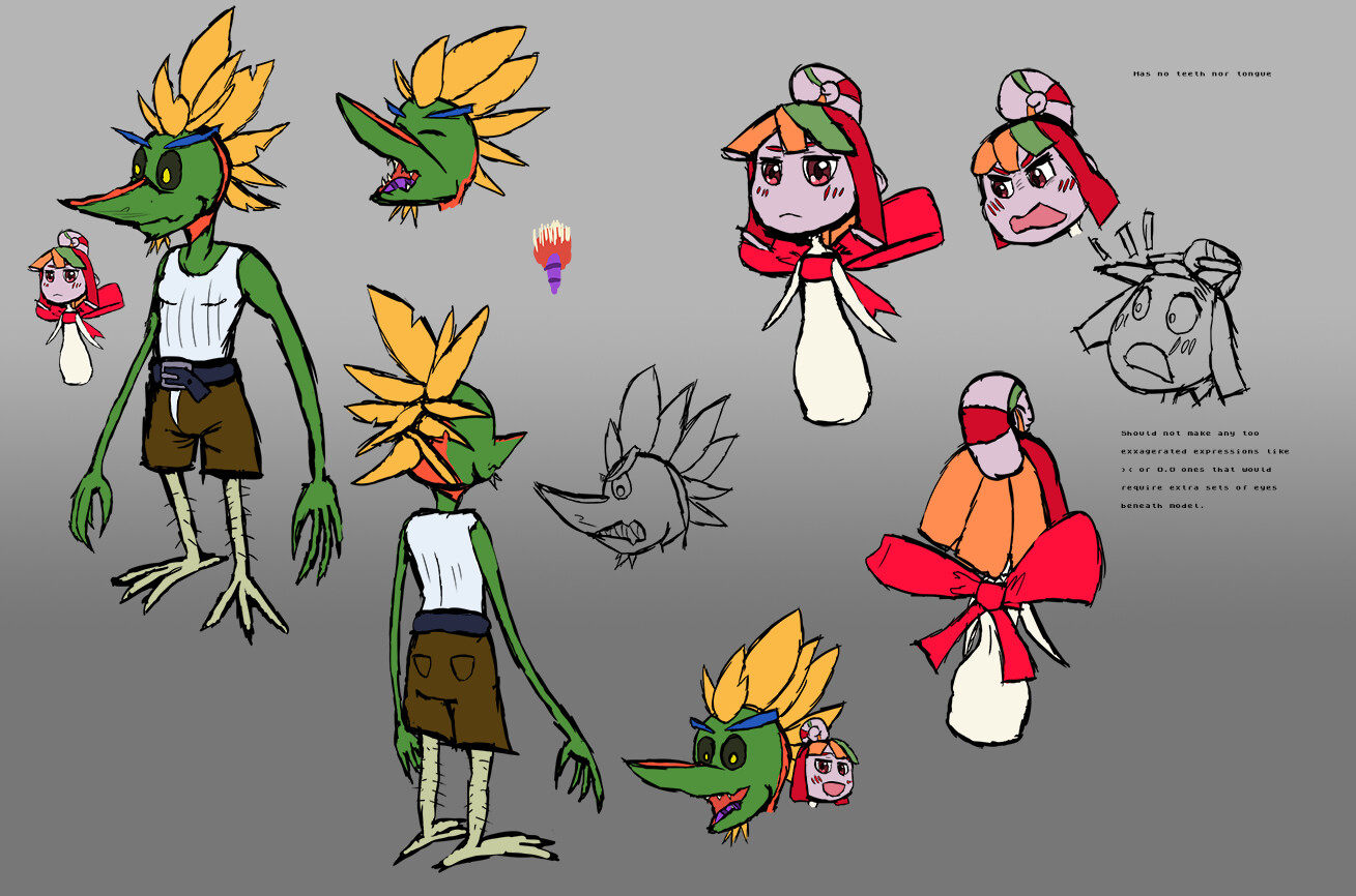 Initial sketches of the protagonists. Most of my characters start out this way before I go into detail. A birds of paradise flower Streilitzia, and his lollipop fairy partner Lolli.