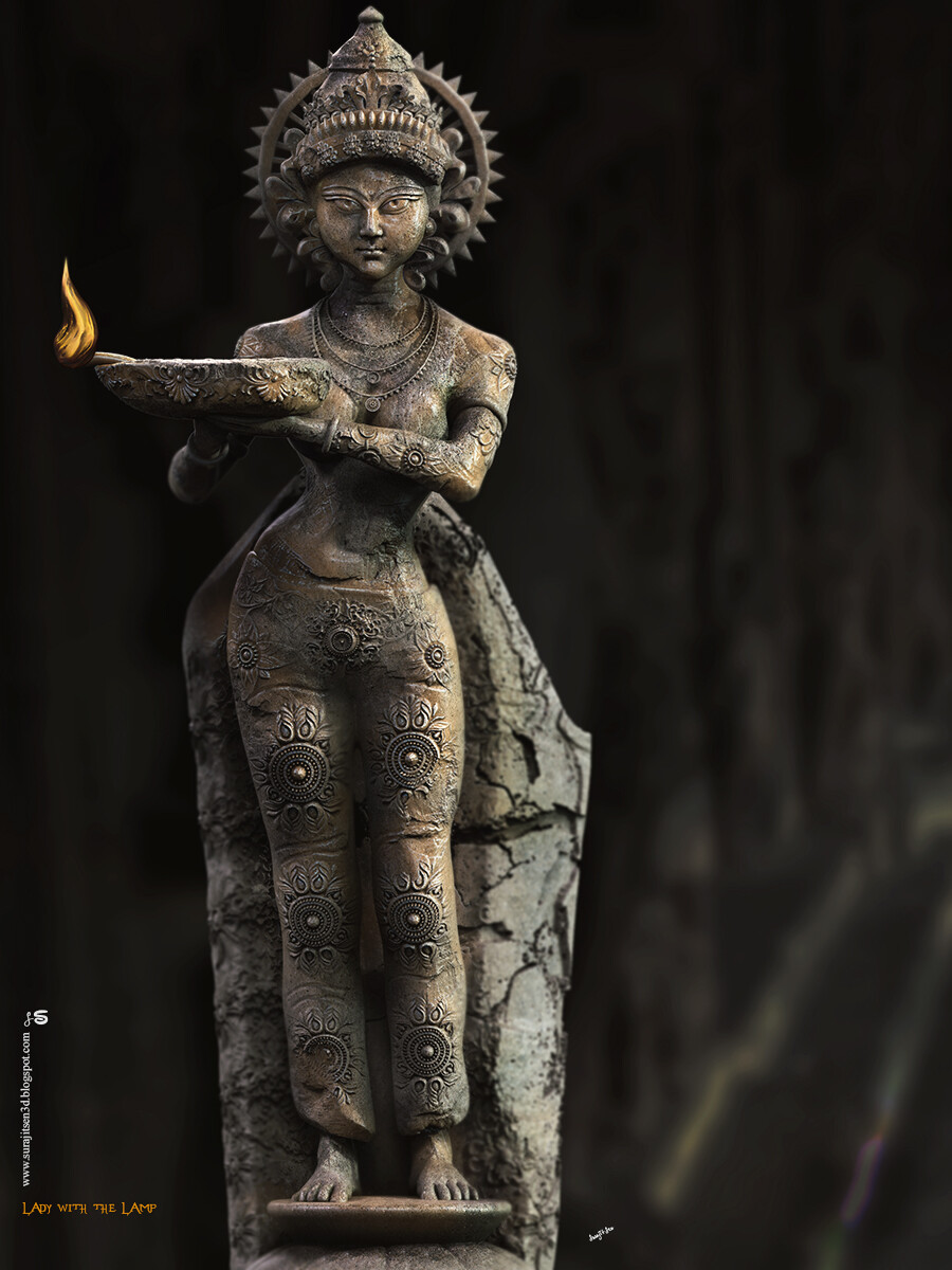 Lady with the Lamp – Digital Sculpture May this light bring glitter to everyone's life…. Happy Diwali!