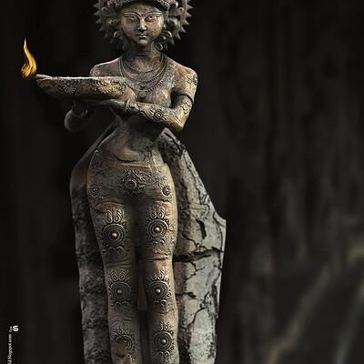 Surajit sen lady with the lamp digital sculpture surajitsen nov2020 l