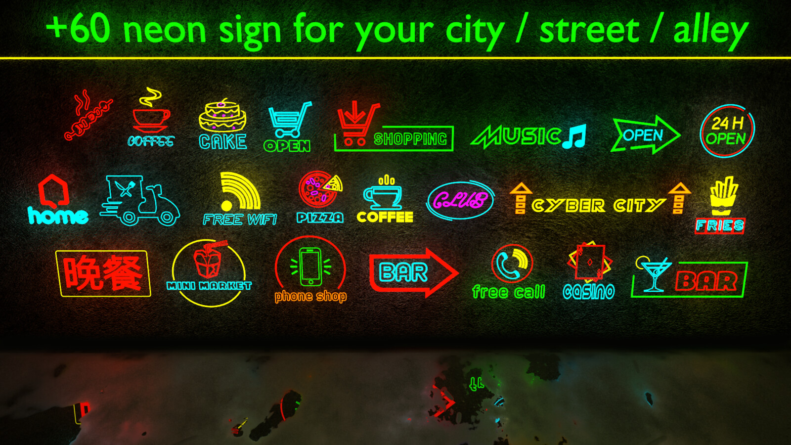 +60 neon signs for youe City / Street / Alley (3D Model)