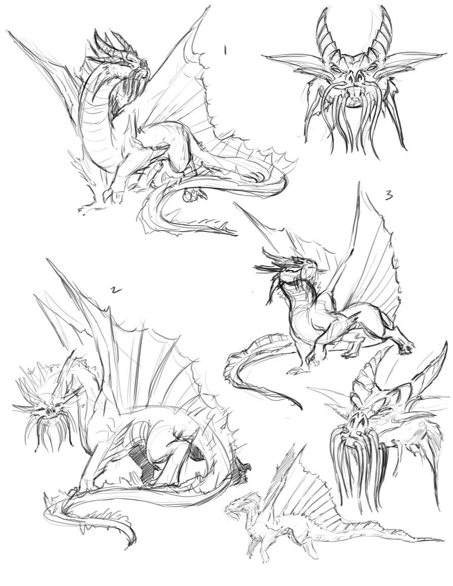 Gold Dragon Sketches