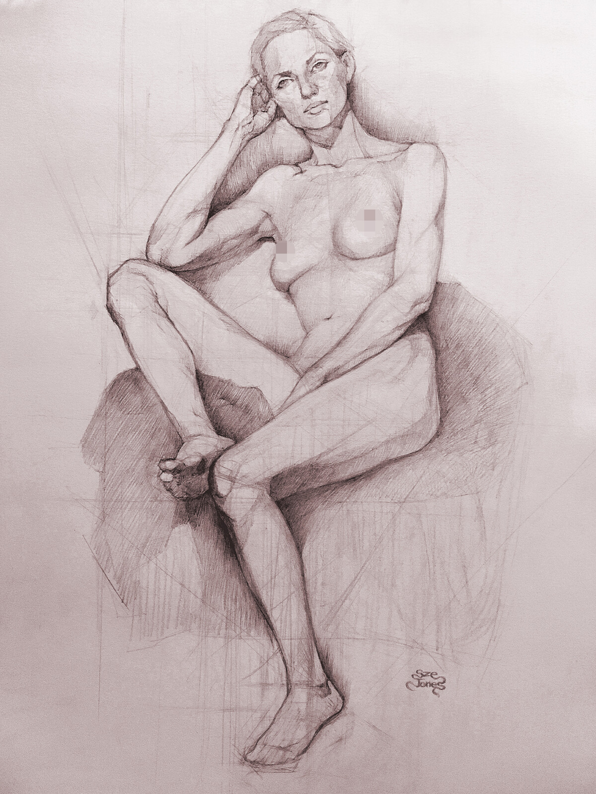"Figurative Drawing 18"" x 24""  - 8 weeks Long Pose"