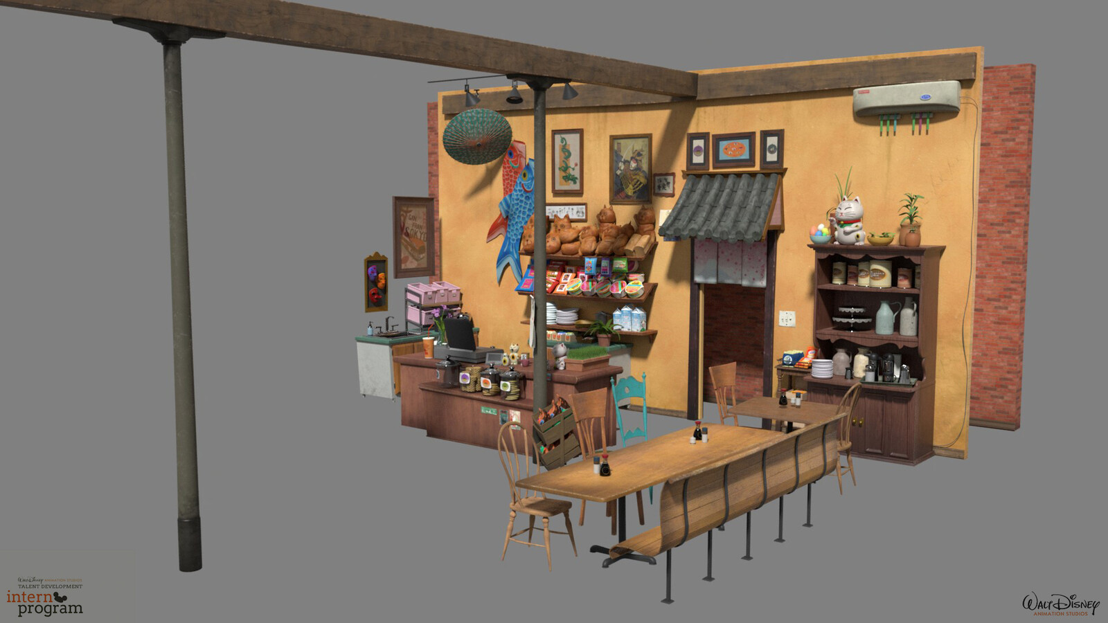 Cafe from Big Hero 6. Used for look dev training.