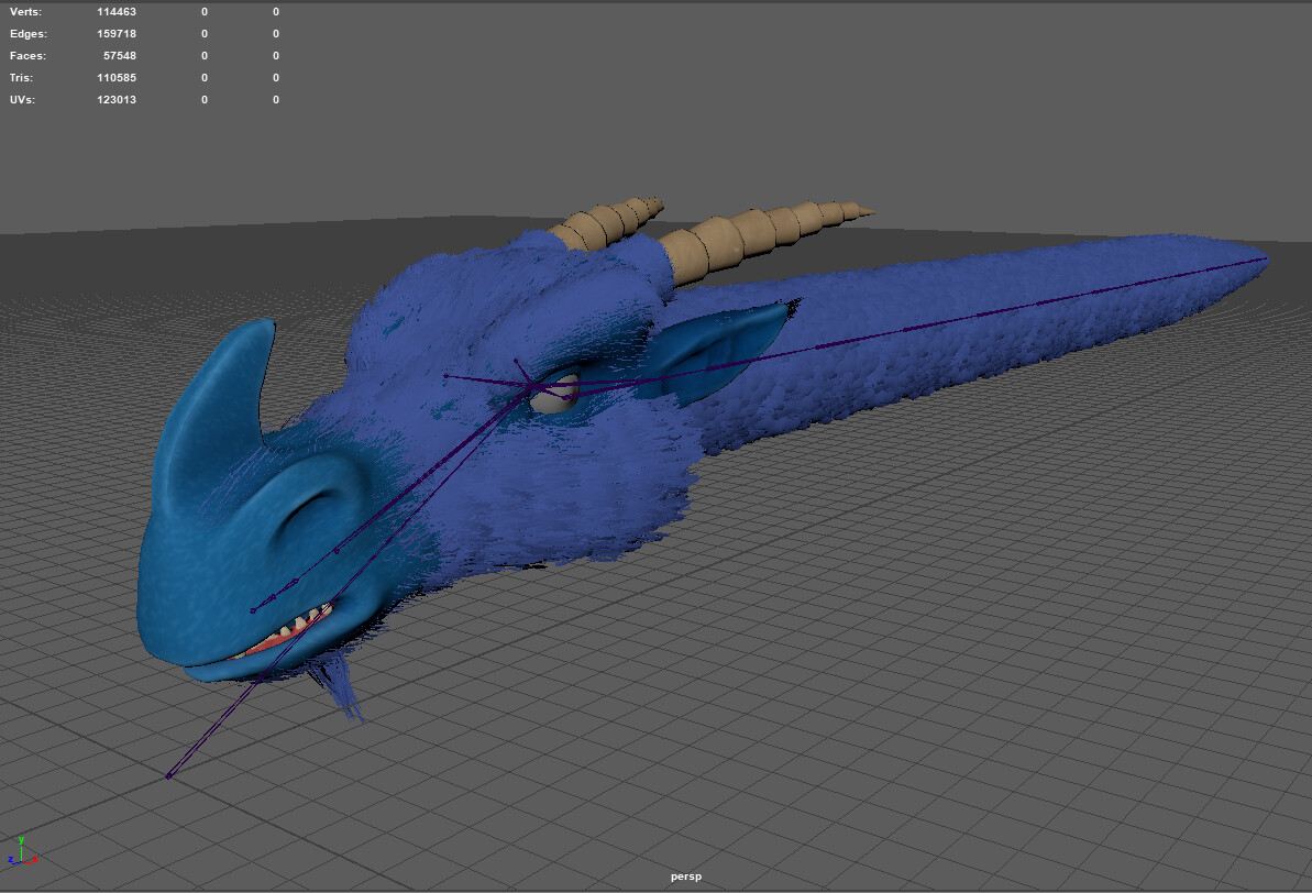 Furry Dragon (Maya) -Target platform: Nintendo Switch -110585 triangles / 114463 vertices -Joints for ears, eyes and mouth -Facial animation driven by morph  targets -Runs realtime in Unreal Engine -Custom rig for animation