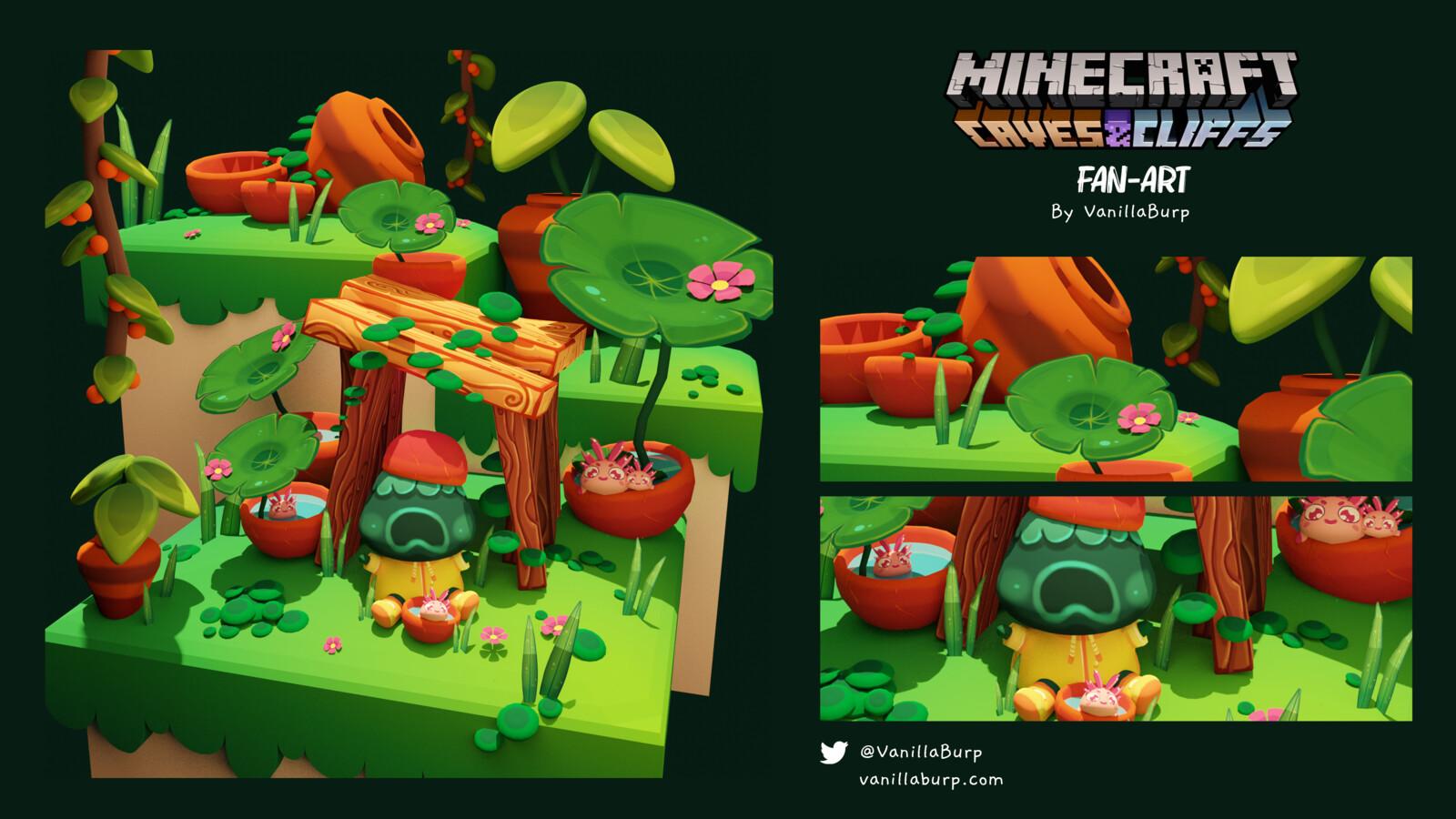 Cozy Lush Caves [Minecraft Caves & Cliffs Fan-Art]