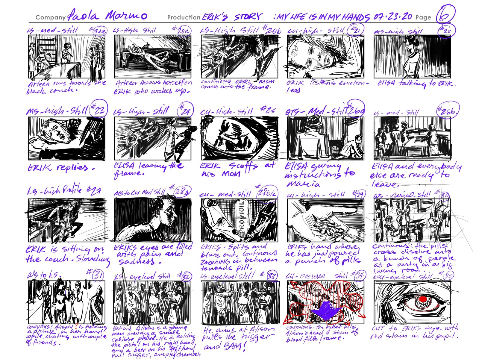 Project 16: Script breakdown into a thumbnail storyboard. Line only.