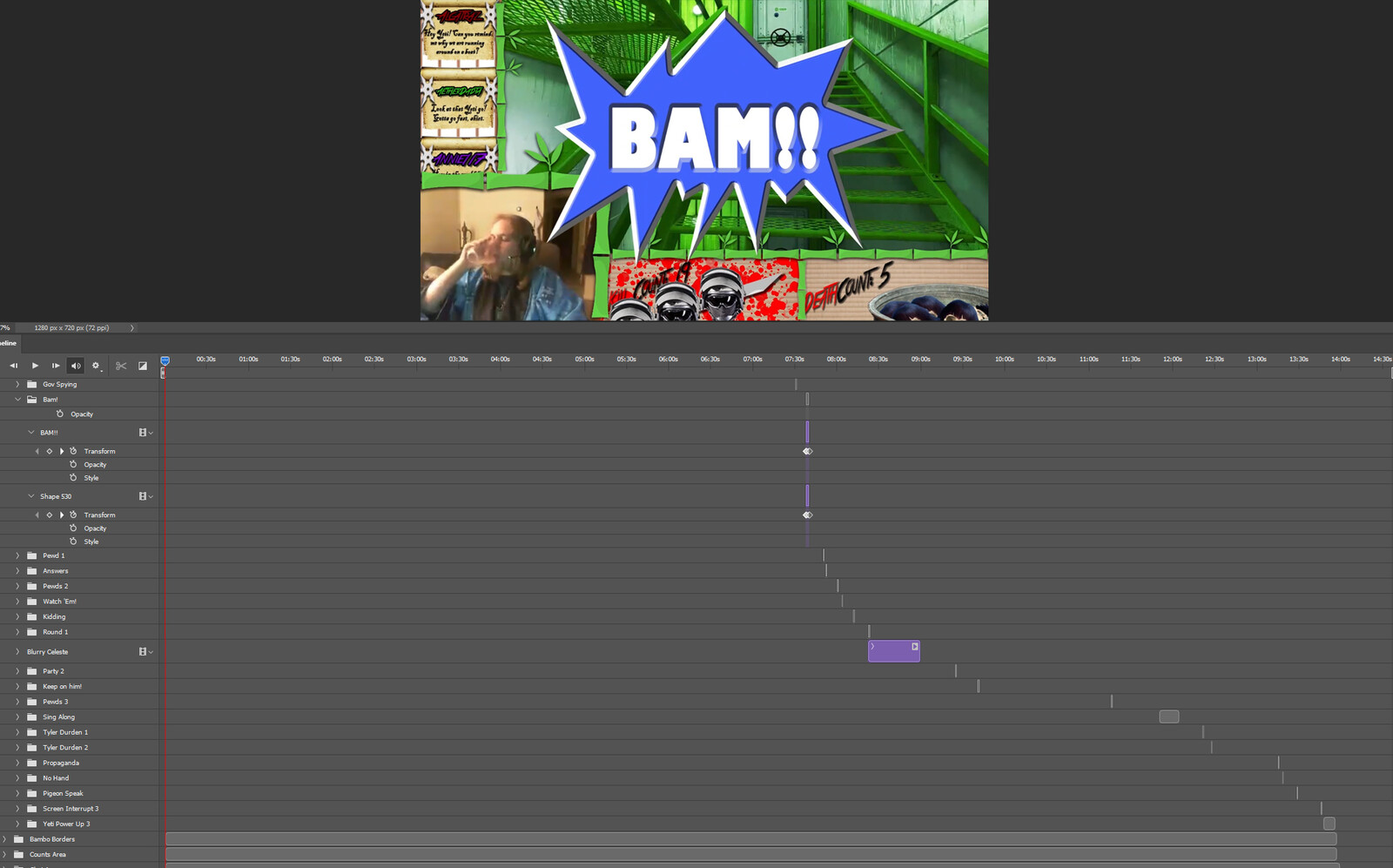 """The """"BAM!"""" visual effect within Photoshop video editor"""