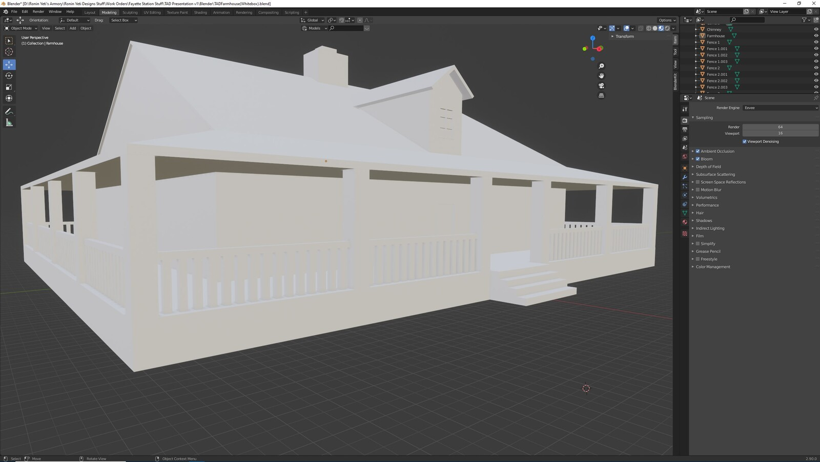 The first angle for the TAD Presentation Farmhouse (Whitebox version)