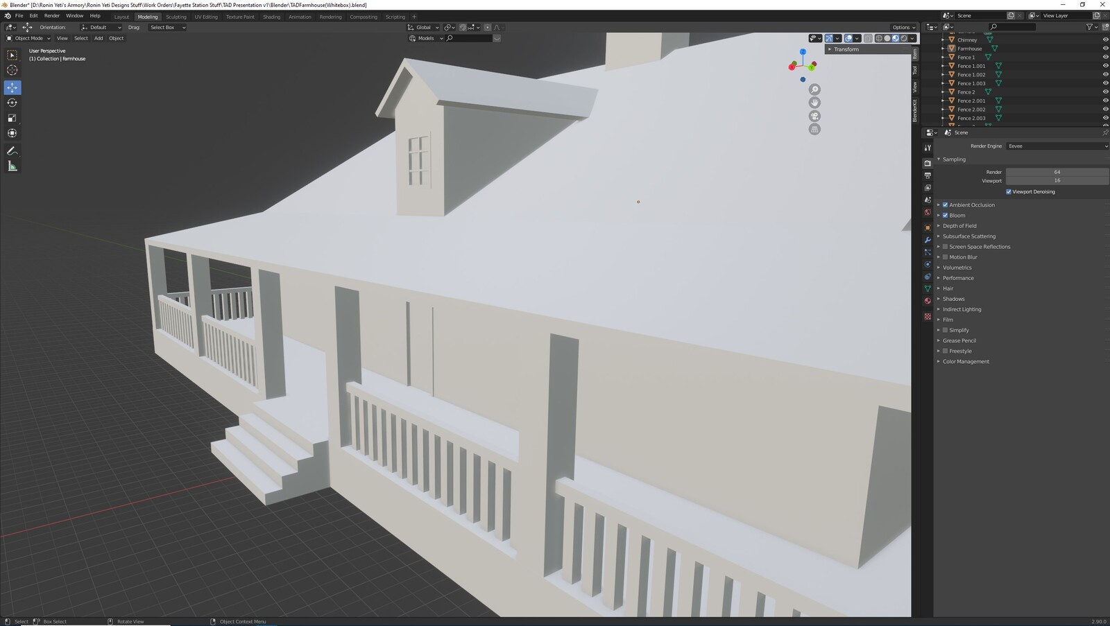 The second angle for the TAD Presentation Farmhouse (Whitebox version)