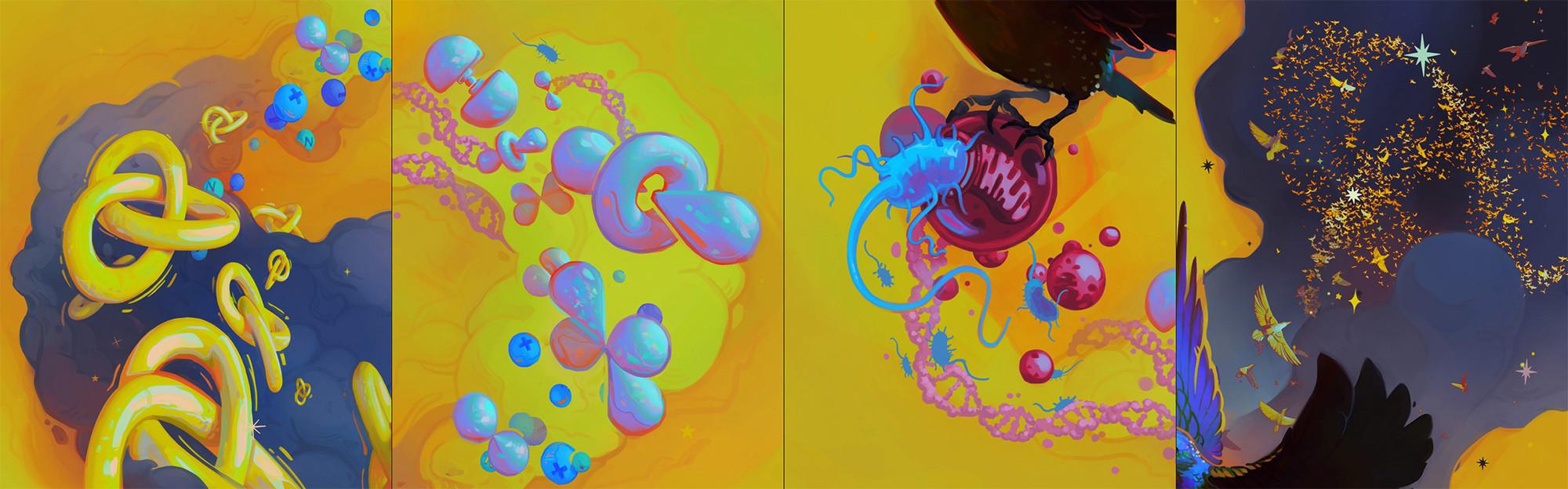 Details: quarks › particles › orbitals › DNA › prokaryotes › eukaryotic cells › starling (Sturnus vulgaris) › murmuration  Info & software breakdown: https://tinyurl.com/SphBrk1  Concepting & process: https://tinyurl.com/SphBrk2  ↓
