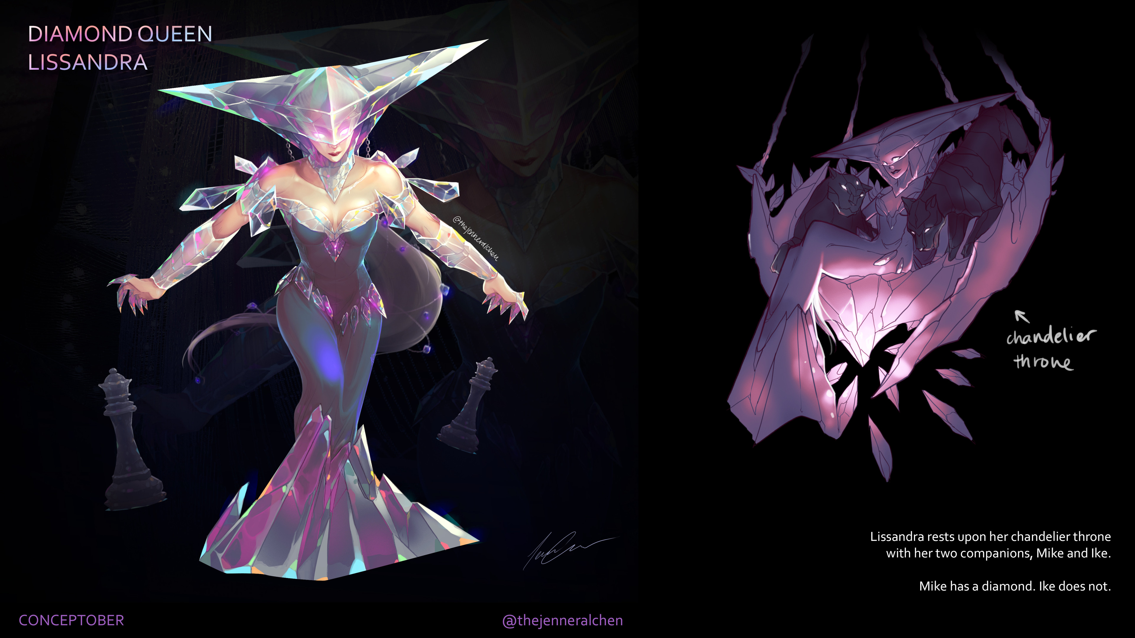 Concept Page - The initial idea for a Diamond-based skin came from sitting in the Chandelier at Cosmopolitan in Las Vegas.