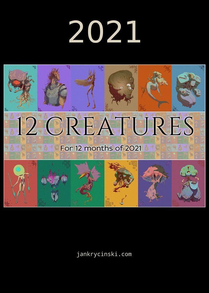 "PL: Okładka kalendarza ""12 Creatures""  ENG: Cover for ""12 Creatures"" calendar"