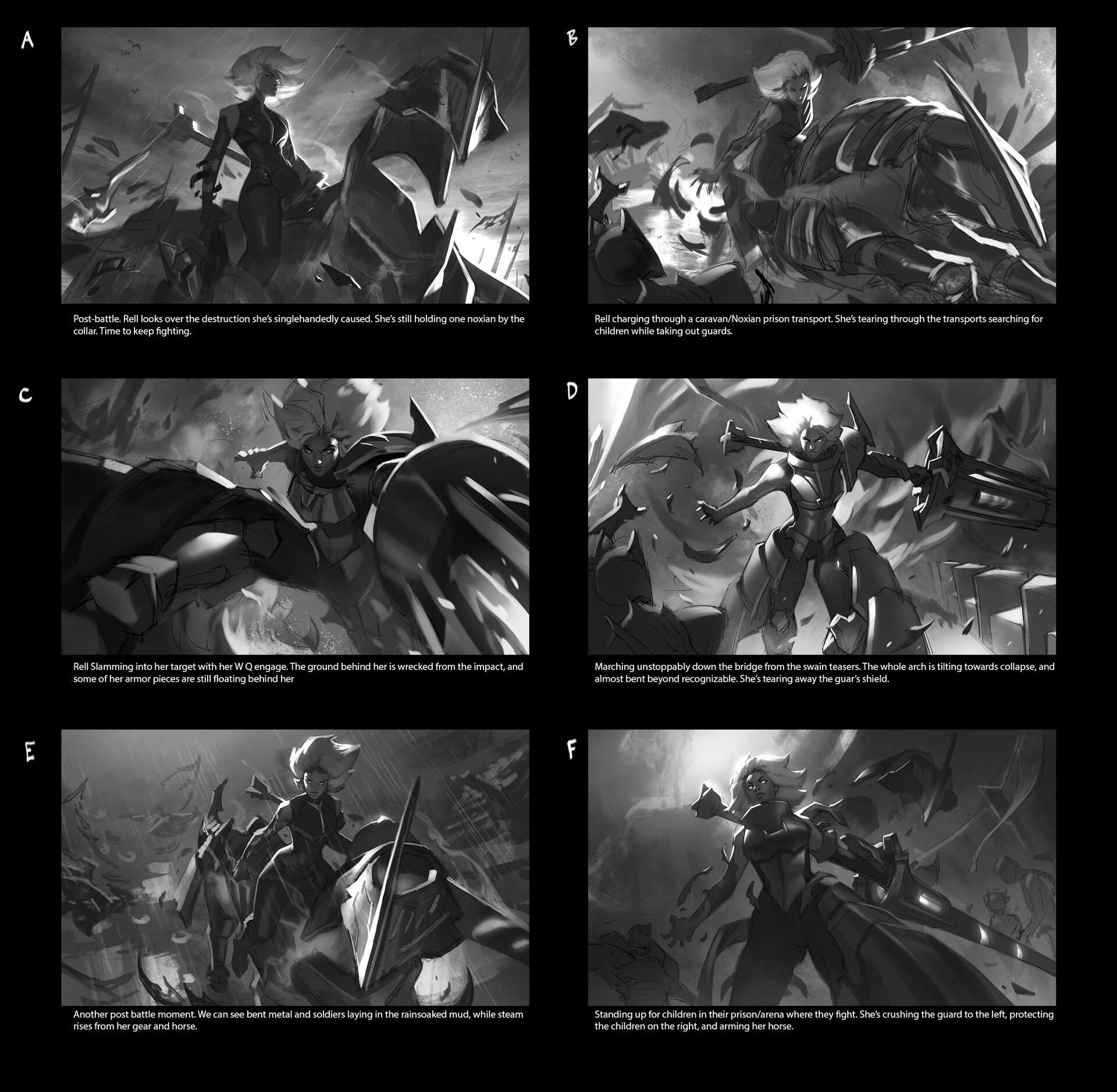 The thumbnails were a lot of fun to work on, imagining the different ways I could show her forms was a challenge!