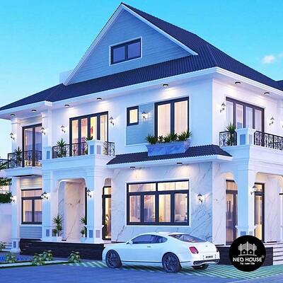 Neohouse architecture thiet ke biet thu mai thai 2 tang dep 1