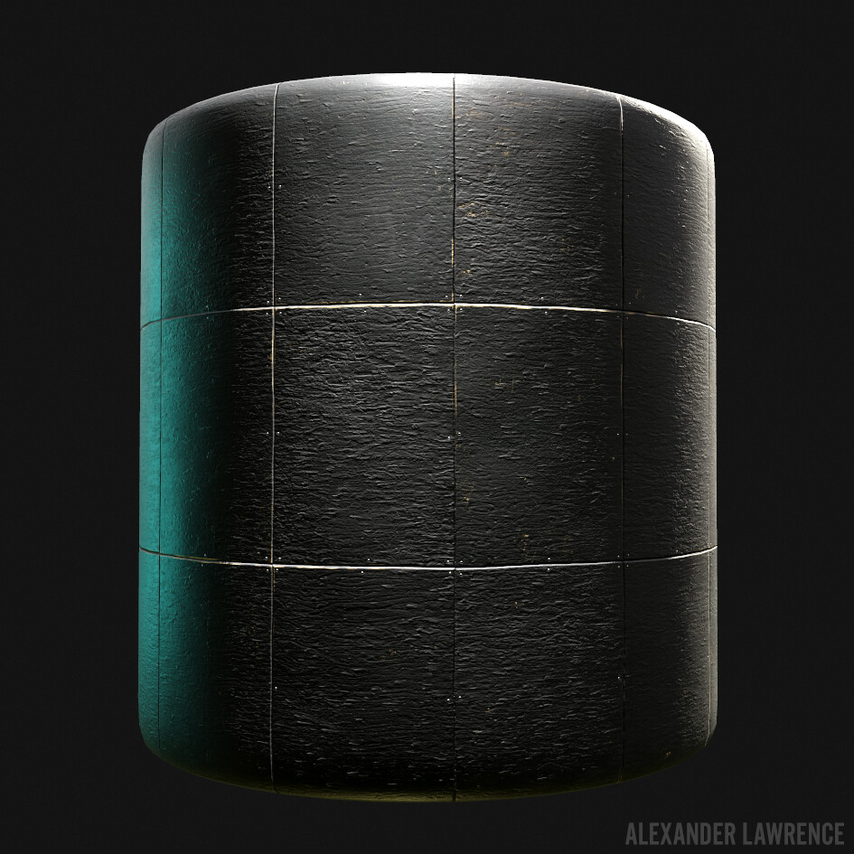 Painted black plywood wall, procedurally generated