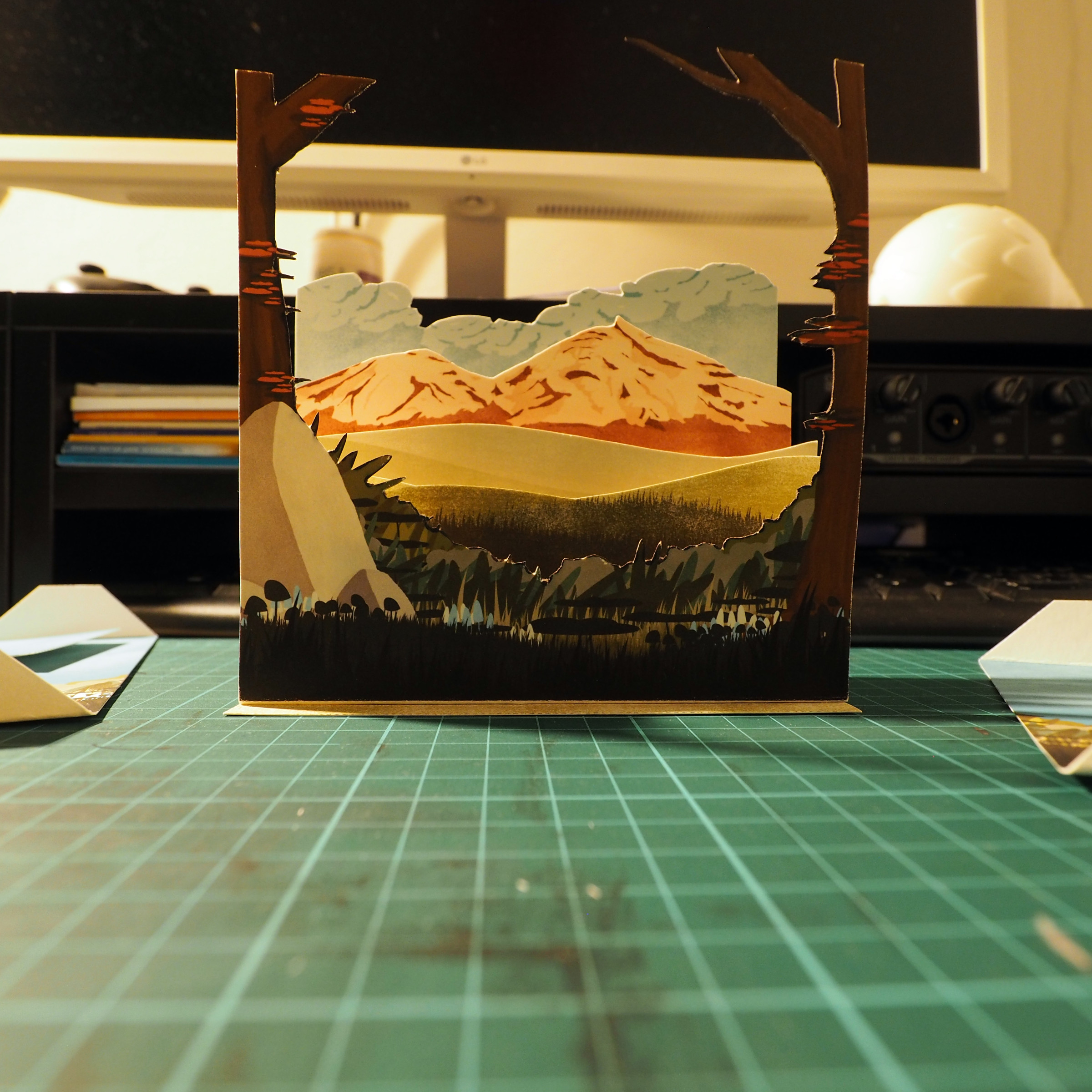 Cutting and assembling the diorama.