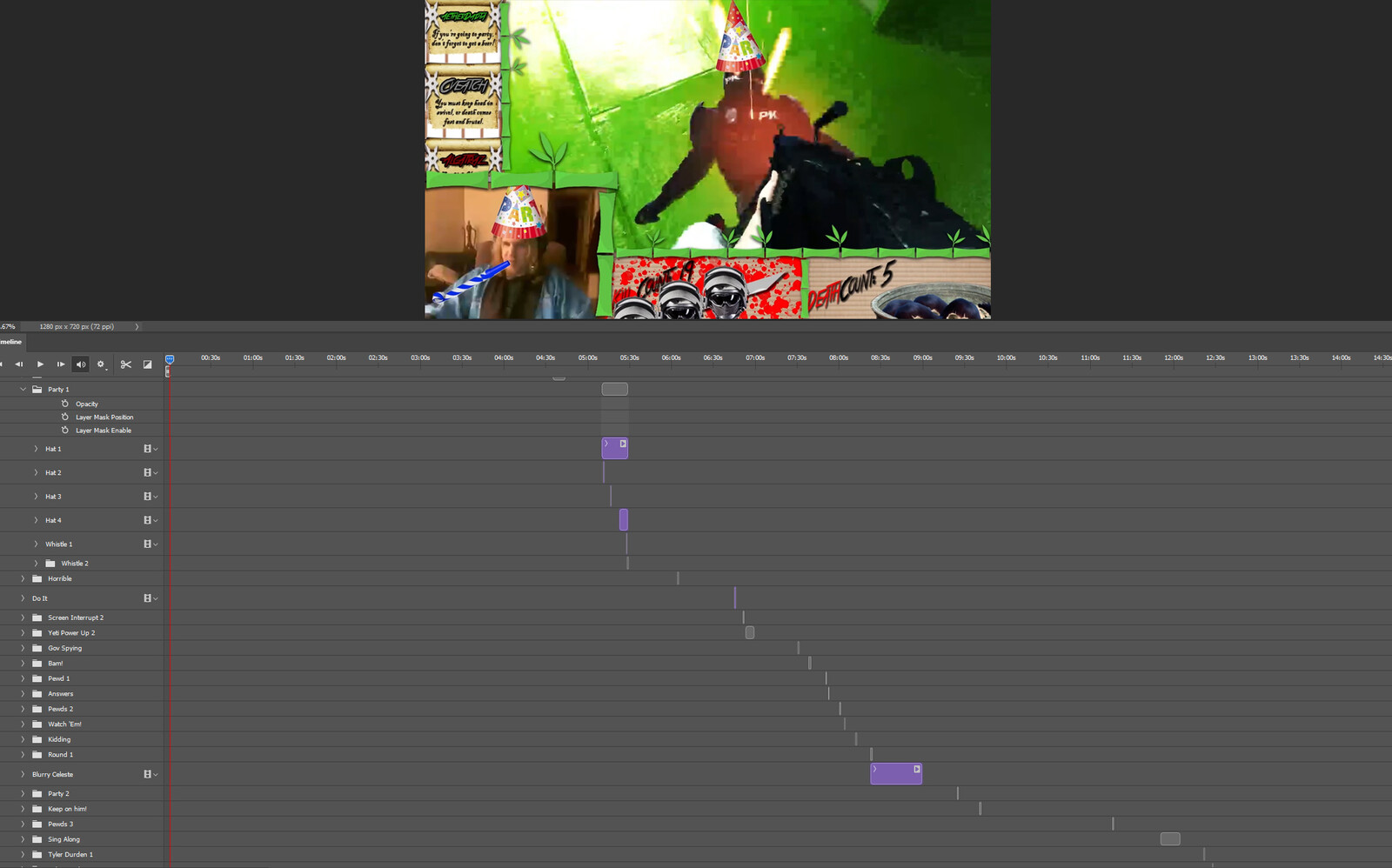 """The """"Know How to Party"""" visual effect within Photoshop video editor"""
