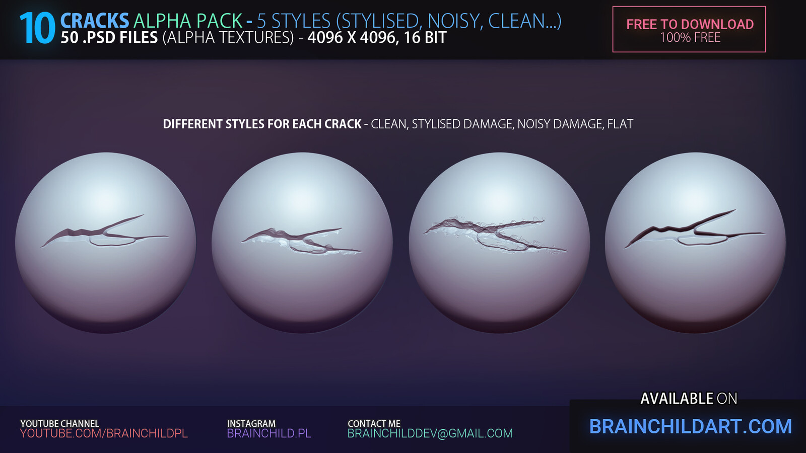 GRAB IT https://www.artstation.com/a/578230 |  [FREE] 10 Cracks ALPHA PACK (+Video How to install) - 50 .PSD files | 5 styles (Clean, Stylised Damage, Noisy Damage...) | Zbrush, Blender & Substance! Damage, Cracks Stylised Alpha Textures