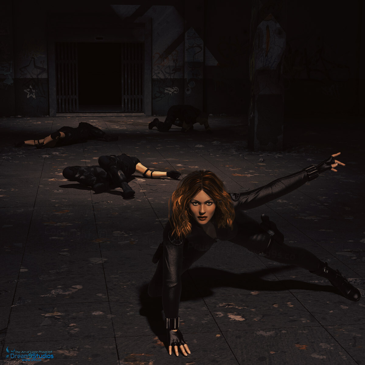 The infamous Black Widow defeats a group of Hydra henchmen in an old underground warehouse without even breaking a sweat.
