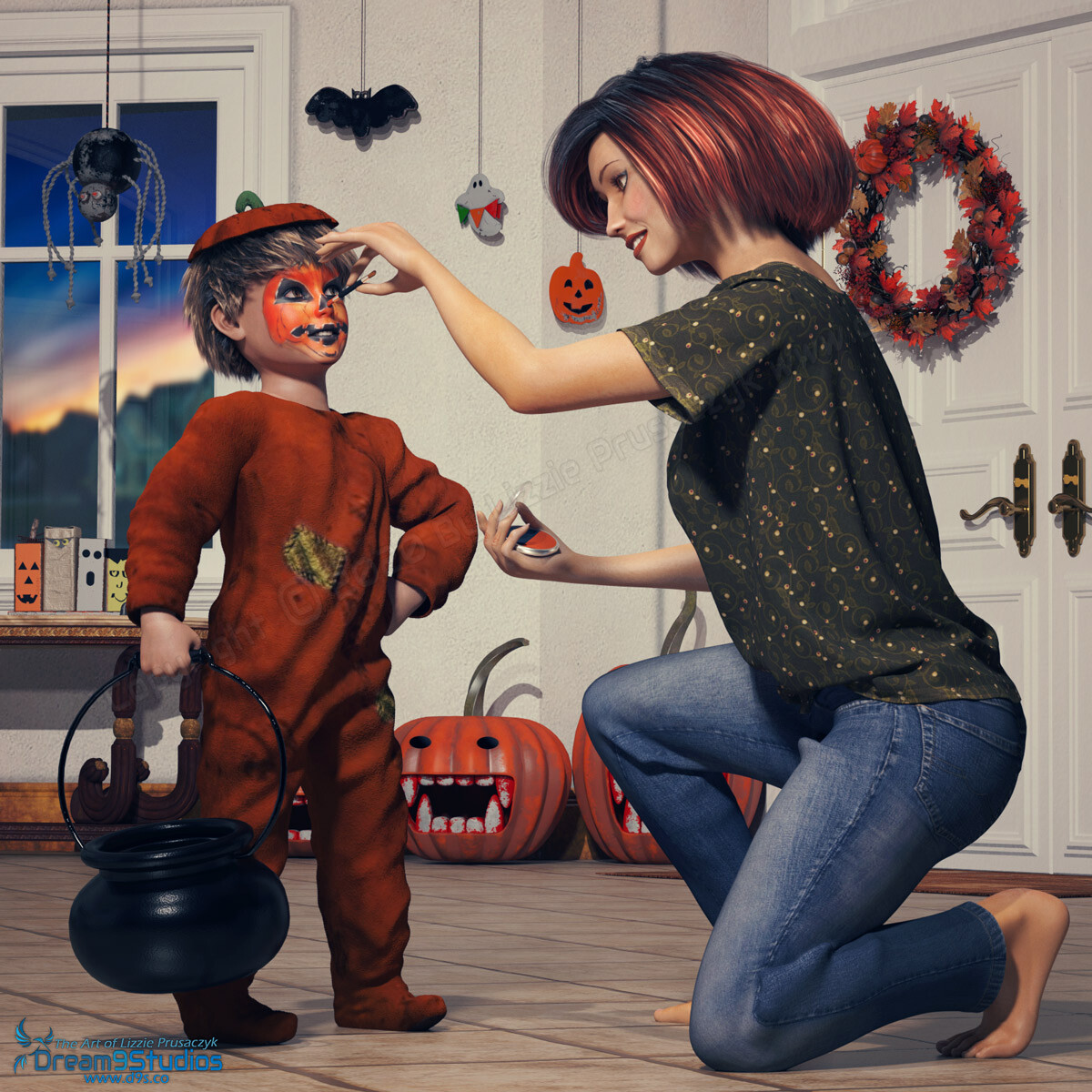 "As she puts the finishing touch on her child's Halloween costume, he is more than ready to go ""trick or treat"" and fill his plastic cauldron with lots of candy."