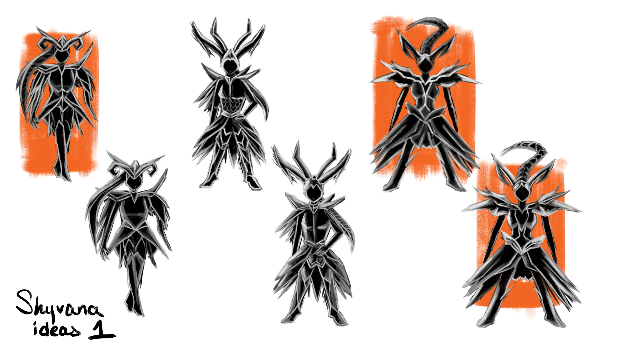 my initial silhouette ideas using alchemy doodling as a base