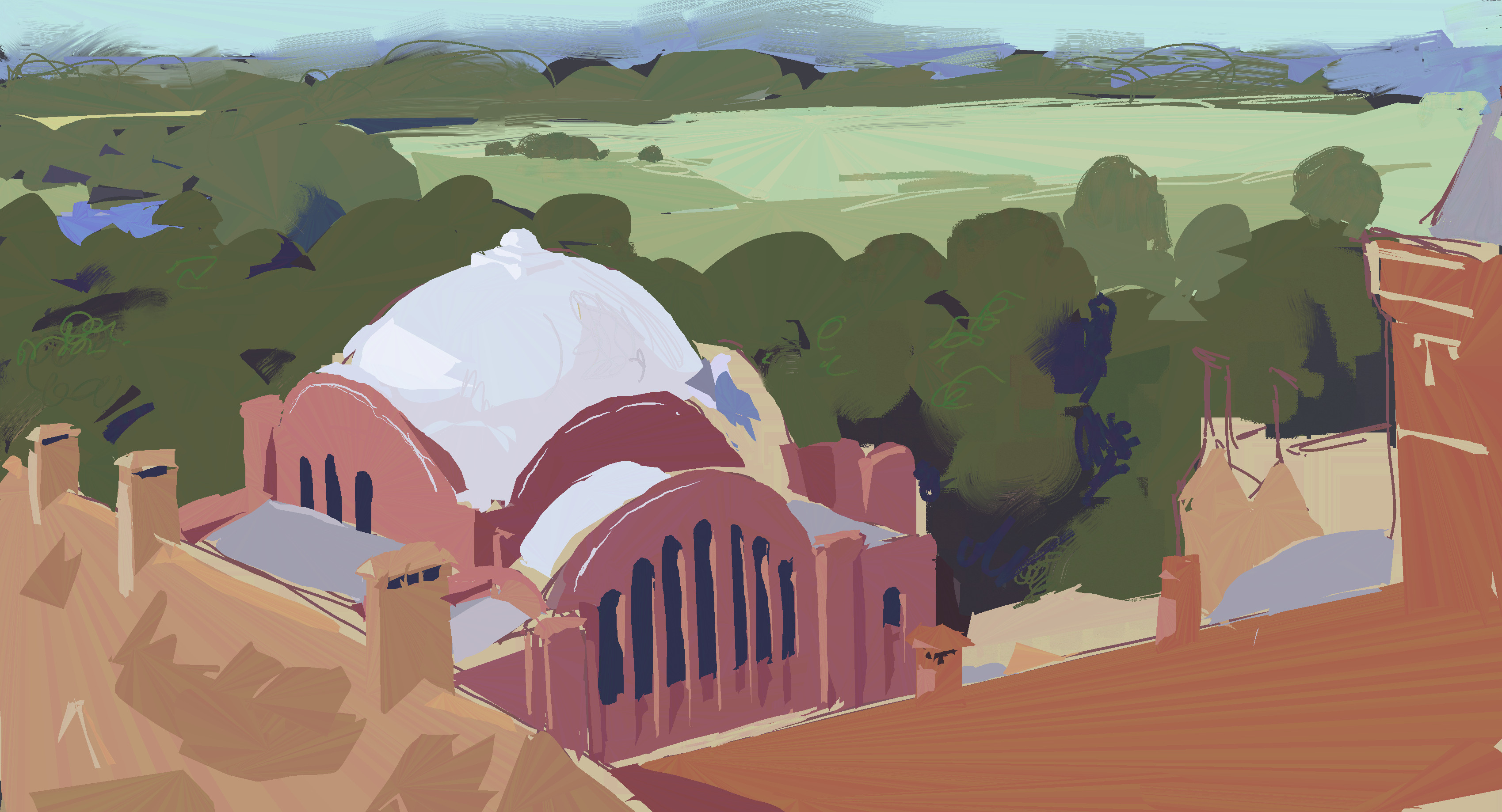 Kelham Hall. Painted from reference.